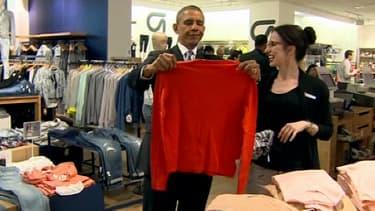 Barack Obama s'est rendu, mardi à New York, chez Gap pour faire du shopping.