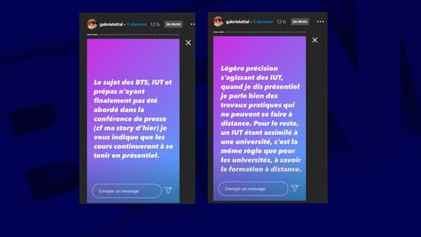 Capture d'écran de la story du porte-parole du gouvernement sur Instagram, le 29 octobre 2020