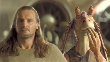 """Liam Neeson dans """"Star Wars, épisode I : La Menace fantôme"""" (1999), aux côtés de Jar Jar Binks"""