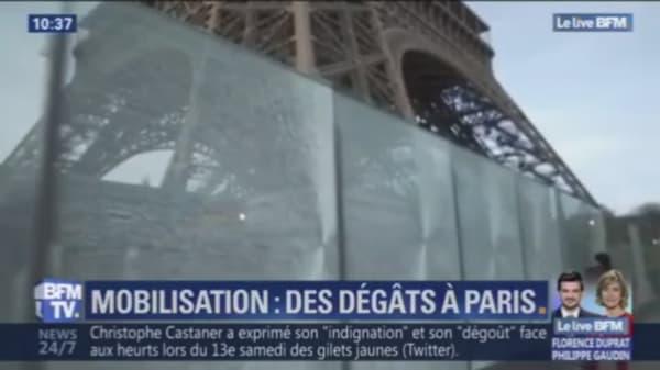 La paroi de verre de la Tour Eiffel a été la cible de casseurs samedi