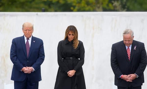 Donald Trump et son épouse Melania Trump ce 11 septembre 2020 lors des cérémonies du 11-Septembre 2001.