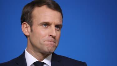 Le président de la République Emmanuel Macron lors d'une conférence de presse le 14 décembre 2018 à Bruxelles.