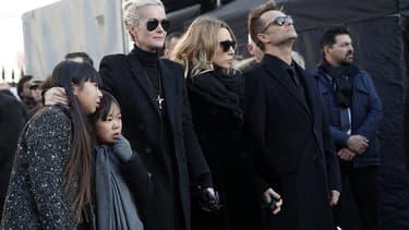 Le clan Hallyday le jour de l'hommage populaire à Johnny Hallyday à la Madeleine, le 9 janvier 2017.