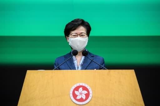 La cheffe de l'exécutif hongkongais Carrie Lam lors d'une conférence de presse, le 9 juin 2020