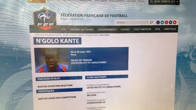 La fiche de Kanté a vu le jour ce jeudi sur le site de la FFF.