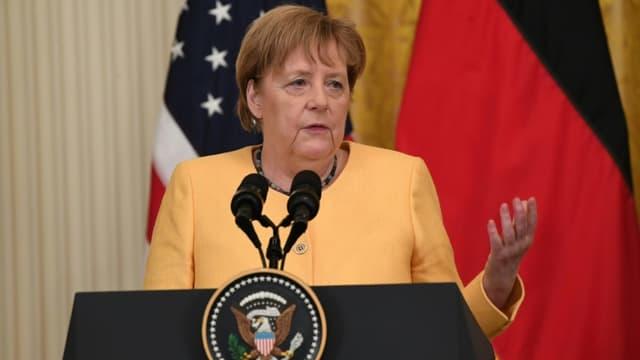 La chancelière allemande Angela Merkel lors d'un point presse avec le président américain Joe Biden à Washington le 15 juillet 2021 (photo d'illustration)