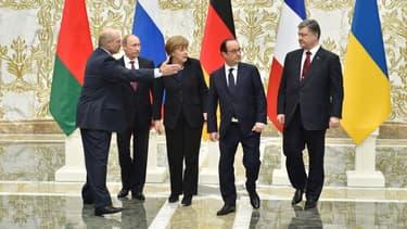 Vladimir Poutine, Angela Merkel, François Hollande et Petro Porochenko, mercredi 11 février, à Minsk.
