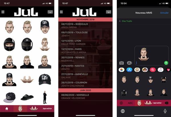 Capture d'écran de l'application mobile officielle de Jul