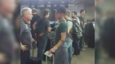 Les joueurs de l'équipe brésilienne de football Chapecoense avant leur départ.