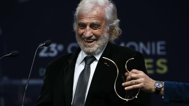 Jean-Paul Belmondo honoré par les Prix Lumières à Paris, le 5 février 2018