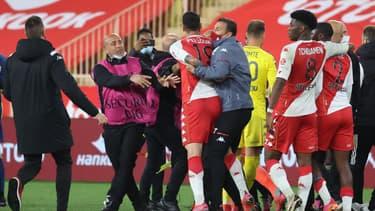 Pellegri pendant la bagarre post-match entre Monaco et l'OL