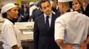 Nicolas Sarkozy lors d'une visite au Campus des métiers et de l'entreprise à Bobigny, en Seine-Saint-Denis, mardi. Le chef de l'Etat a présenté à cette occasion un plan de lutte pour l'emploi fondé à la fois sur le renforcement de la formation en alternan