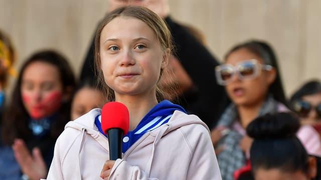 Greta Thunberg lors d'une manifestation pour le climat à Denver, dans le Colorado, le 11 octobre 2019