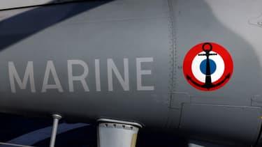Le logo de la Marine nationale sur la frégate Lafayette, en octobre 2020.