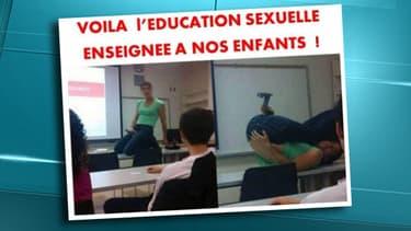 """Sur son site internet, Civitas a publié des photos, soi-disant prises en France, """"d'éducation sexuelle telle qu'enseignée"""" à l'école publique."""