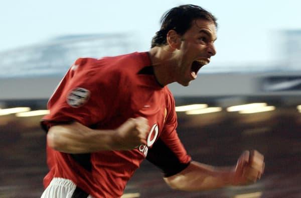 Ruud van Nistelrooy, l'ancien avant-centre néerlandais de Manchester United, en 2002