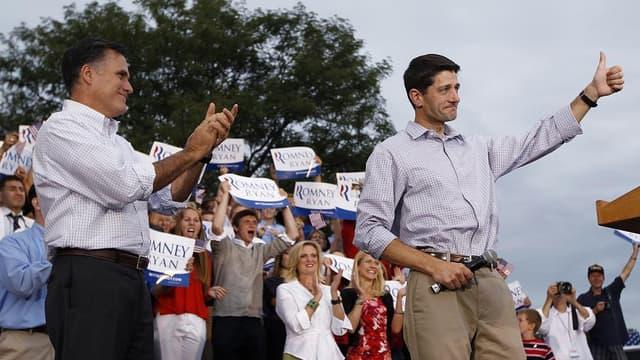 Mitt Romney (à gauche) a choisi Paul Ryan (à droite) comme colistier et éventuel futur vice-président.
