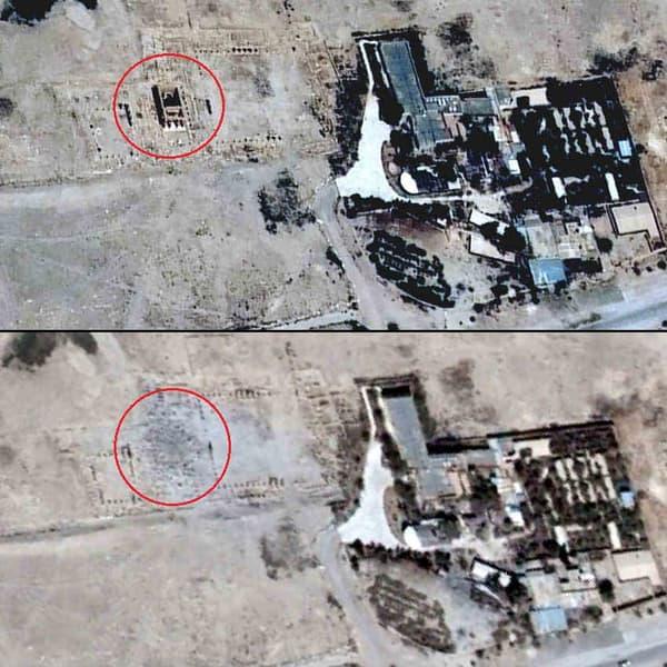 Le temple de Baal Shamin, avant et après sa destruction par l'EI, à Palmyre.