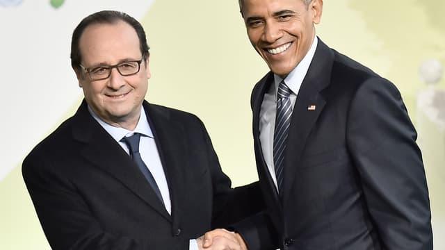 """Barack Obama a appelé François Hollande pour saluer leur """"étroit partenariat"""" depuis 2012. (Photo d'illustration)"""