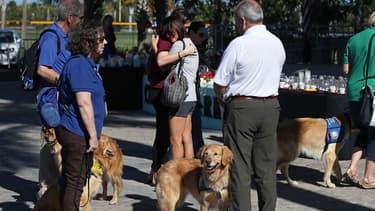Des chiens de thérapie au chevet des survivants de la fusillade de Floride, le 16 février 2018 à Parkland