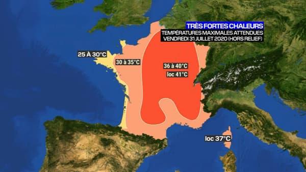 Les températures maximales attendues en France ce vendredi.