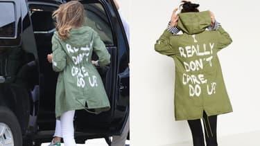 Melania Trump vêtue de sa veste Zara la 21 juin 2018 /  La veste Zara