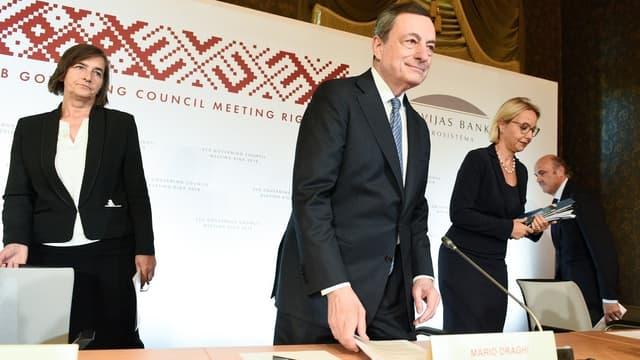 Le président de la BCE, Mario Draghi, lors de la conférence de presse à Riga, le 14 juin.