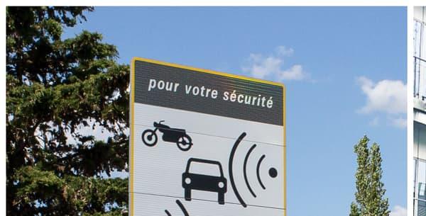 """Sur les anciens panneaux (à gauche), on pouvait lire la mention """"pour votre sécurité, contrôles radars fréquents""""."""