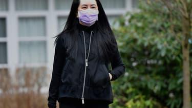 Le directrice financière du géant chinois Huawei, Meng Wanzhou, le 29 janvier 2021 à Vancouver