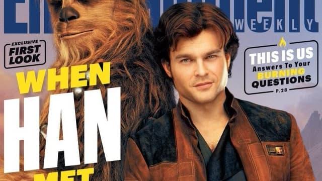 """Alden Ehrenreich, dans la peau de Han Solo, en couverture d'""""Entertainment Weekly"""""""