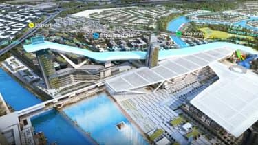 Plan de la future plus grande station de ski couverte au monde, que Dubaï compte construire, avec une piste de 1,2 km.