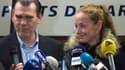 Florence Cassez et son avocat Frack Berton, jeudi 24 janvier, lors de la conférence de presse organisée à l'arrivée sur le sol français de l'ex-détenue.