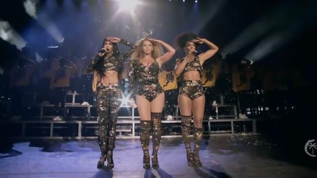 Beyoncé sur scène avec Michelle Williams et Kelly Rowlands, le 14 avril 2018