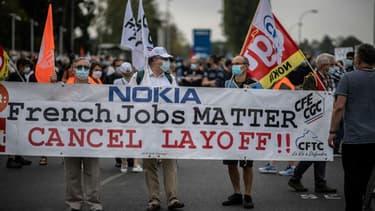 (illustration) Manifestation à Nozay le 10 septembre 2020 des salariés de Nokia contre le plan social qui prévoit la suppression de 1.233 emplois en France