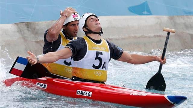 Les Français Gauthier Klauss et Matthieu Péché ont échoué jeudi au pied du podium de la finale du slalom en canoë biplace des Jeux olympiques de Londres, sans parvenir à offrir au canoë-kayak tricolore une deuxième médaille après le triomphe de Tony Estan