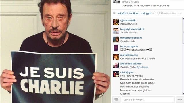 """Johnny est lui aussi """"Charlie"""". Il le dit en vidéo sur Instagram."""