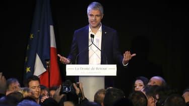 Laurent Wauquiez s'exprime après son élection à la présidence des Républicains, le 10 décembre 2017