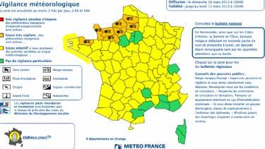 La carte Météo France du 10 mars.