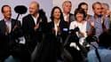 """Francois Hollande, Laurent Fabius, Ségolène Royal, Martine Aubry, et Bertrand Delanoë, après le discours de clôture de l'université d'été du Parti socialiste. Martine Aubry a dénoncé dimanche les expulsions """"indignes"""" de Roms que le gouvernement a multipl"""