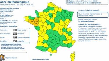 """Le Morbihan, l'Ille-et-Vilaine et la Loire-Atlantique sont toujours placés en vigilance orange """"inondations""""."""