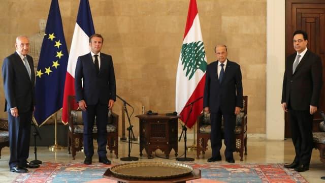 Rencontre du président français Emmanuel Macron avec le président libanais Michel Aoun le 6 août 2020 à Beyrouth