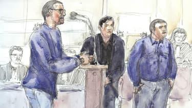 Croquis du procès Méric, représentant les trois suspects à la cour d'Assises