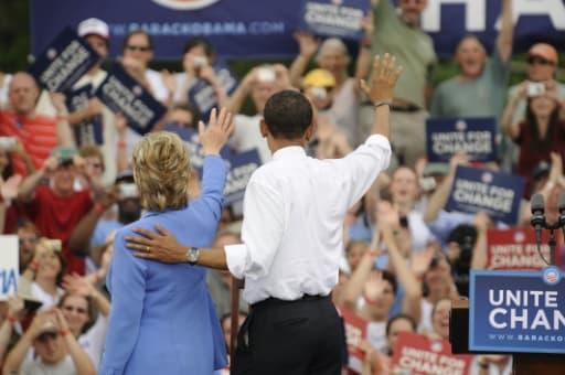 Hillary Clinton et Barack Obama le 27 juin 2008 à Unity dans le New Hampshire