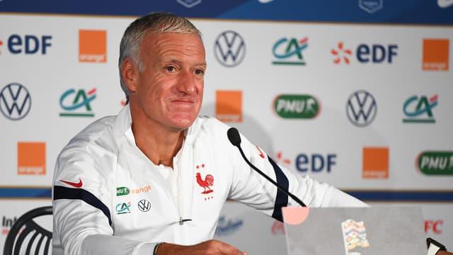 Didier Deschamps lors d'une conférence de presse de l'équipe de France