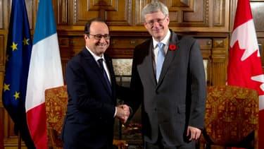 François Hollande et Stephen Harper.