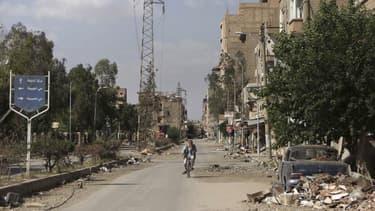 A Daïr az Zour, dans l'est de la Syrie. Le secrétaire général de l'Onu, Ban Ki-moon, a souhaité vendredi que la conférence internationale sur le conflit syrien proposée la semaine dernière par la Russie et les Etats-Unis ait lieu aussi vite que possible.