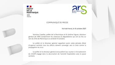 Le préfet et l'ARS de Martinique ont condamné les violences produites devant le CHU le 15 octobre