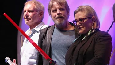 Harrison Ford, Mark Hamill et Carrie Fisher à San Diego en juillet 2015.
