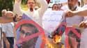 Des sympathisants de Farj Libya contre l'ingérence de l'ONU et de son émissaire Bernardino Leon,devant le GNC de Tripoli le 1er juillet 2015.