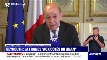 """Jean-Yves Le Drian: """"La France est la famille du Liban (...) nous sommes en deuil"""""""
